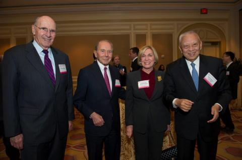 Barnes Group Retired Chair and CEO Wallace Barnes, C.V. Starr & Co., Inc. Chair and CEO Maurice R. Greenberg, Barbara Franklin Enterprises President and CEO Barbara H. Franklin, and China-US Exchange Foundation Founding Chair and first Hong Kong Special Administrative Region Chief Executive C.H. Tung celebrate USCBC's 2012 Gala.